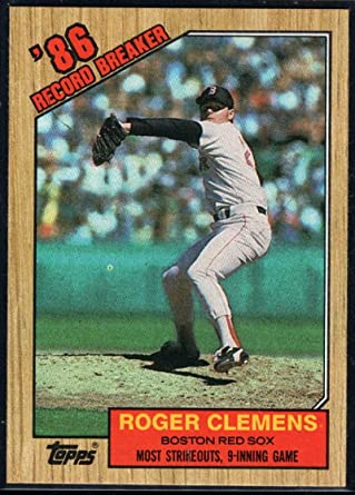 1987 Roger Clemens Topps Card Number 340
