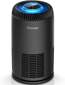 Toyuugo HEPA Air Purifier for Home Bedroom Office with PM2.5 Air Quality Auto Sensor, 8-in-1 Air Cleaner with True HEPA Filter for Allergies and Pets Hair, Smokers, Auto & Sleep Mode, Timer, Child Lock (Black)