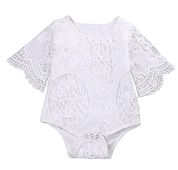 c7ce25c542a0 Amazon.com  Baby Girls  Princess Lace Romper Bodysuit Bubble Rompers Outfit   Clothing