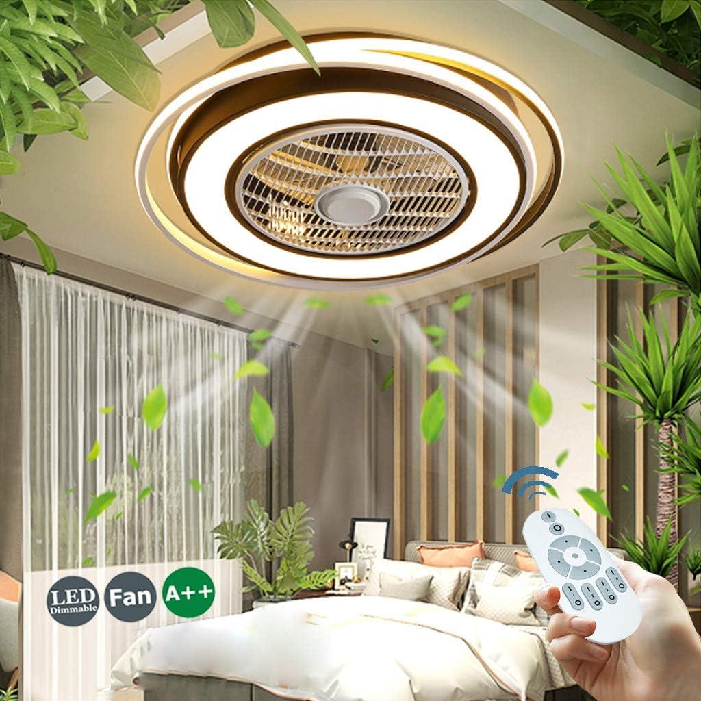 Ventilador De Techo 55W LED Luz De Ventilador Invisible L/ámpara De Techo De Ventilador Ajustable Con Iluminaci/ón De Dormitorio L/ámpara De Sala Estar Regulable Con Control Remoto Ventilador Silencioso