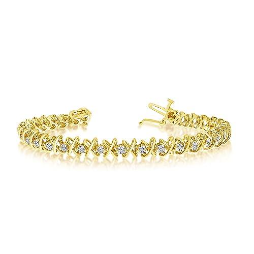 "14k Yellow Gold 2 Ct. Diamond ""XO"" tennis Bracelet"