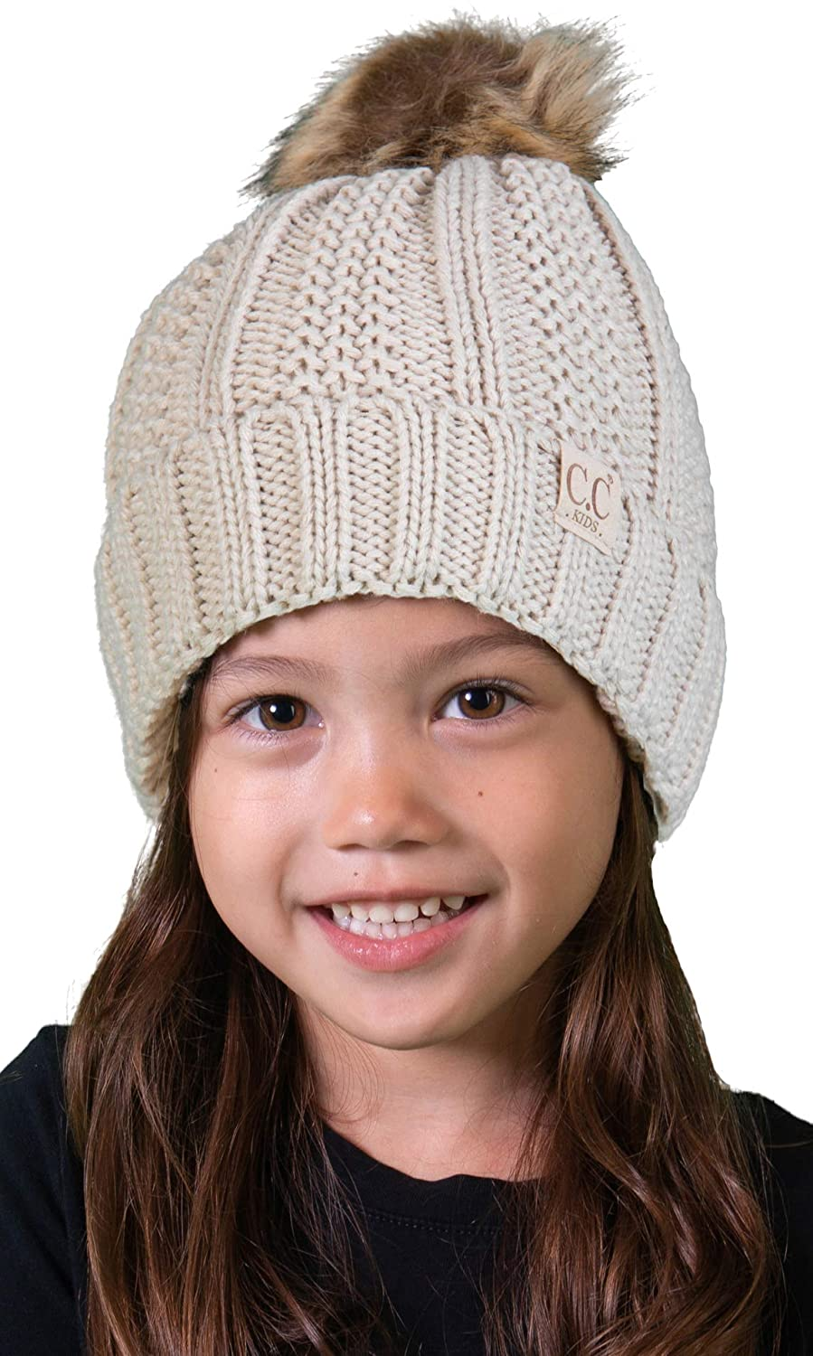22df7fa0761 Amazon.com  H-1820kids-60 Fuzzy Lined Pom Hat - Beige  Clothing
