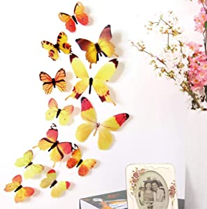 48 PCS Removable 3D Butterfly Wall Stickers Decals DIY Wall Art Decor Home Wall Decoration Sticker Mural for Kids Girls Children Bedroom Living Room Background Nursery (Yellow)