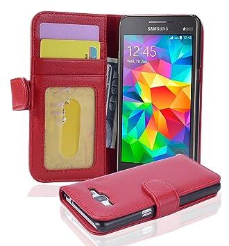 Cadorabo Hülle für Samsung Galaxy Grand Prime - Hülle in Inferno ROT – Handyhülle mit 3 Kartenfächern - Case Cover Schutzhüll