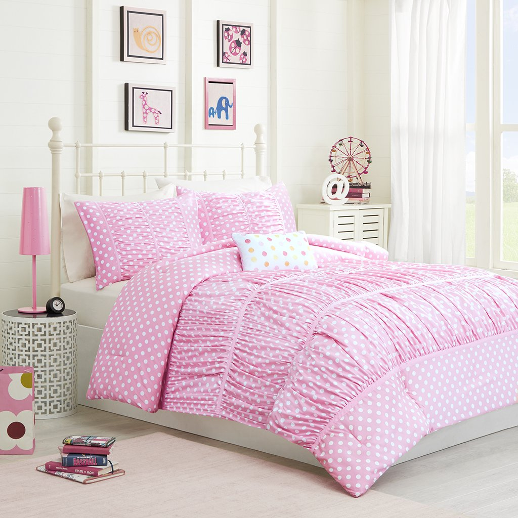 Mizone Lia 4 Piece Comforter Set, Pink, Full/Queen
