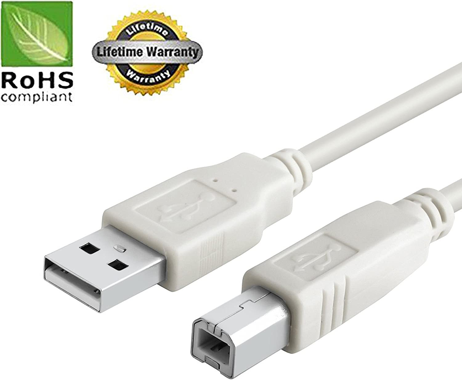 - 3 FT//10 PACK//IVORY Huetron TM USB 2.0 Cable Specific Models Only A-Male to B-Male for Acom Data External Subsystems Hard Drive PC Sync