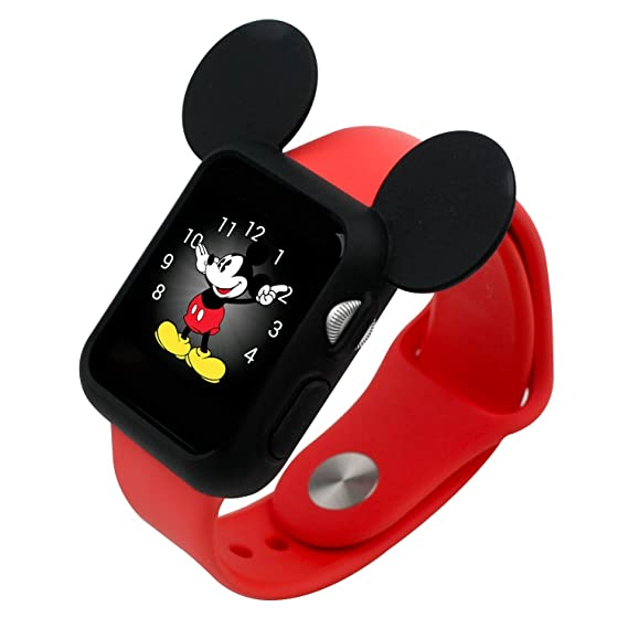newest fef90 6249c Navor Soft Silicone Protective Case Works for Apple Watch 42mm Series 1 2 3  Disney Characters Mickey Mouse Ears Black