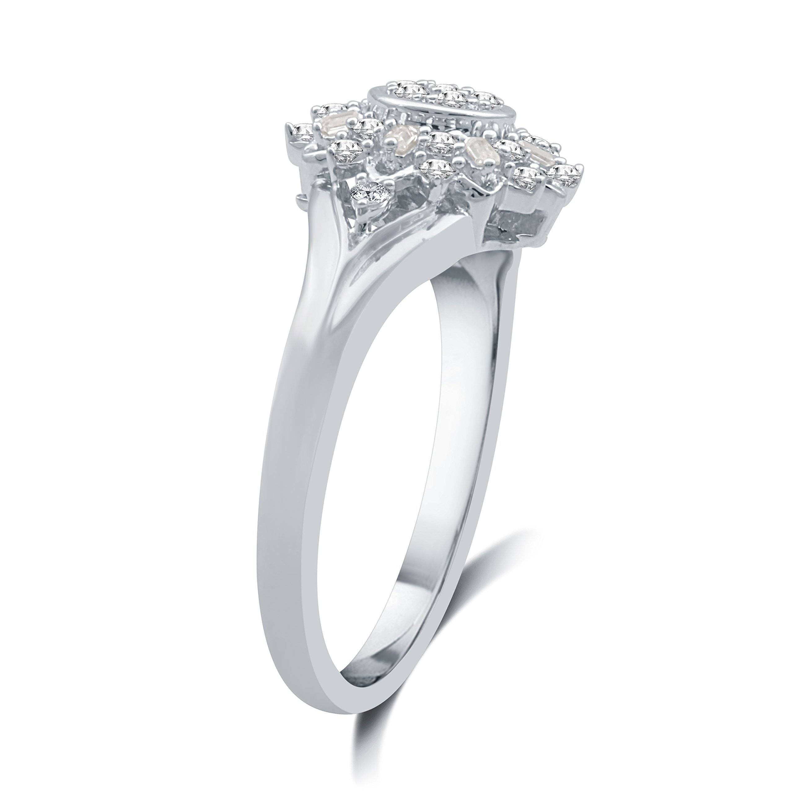 DeCarat 1/3 CT.T.W. Diamond Sterling Silver Sunflower Shaped Wedding Ring by DeCarat (Image #3)