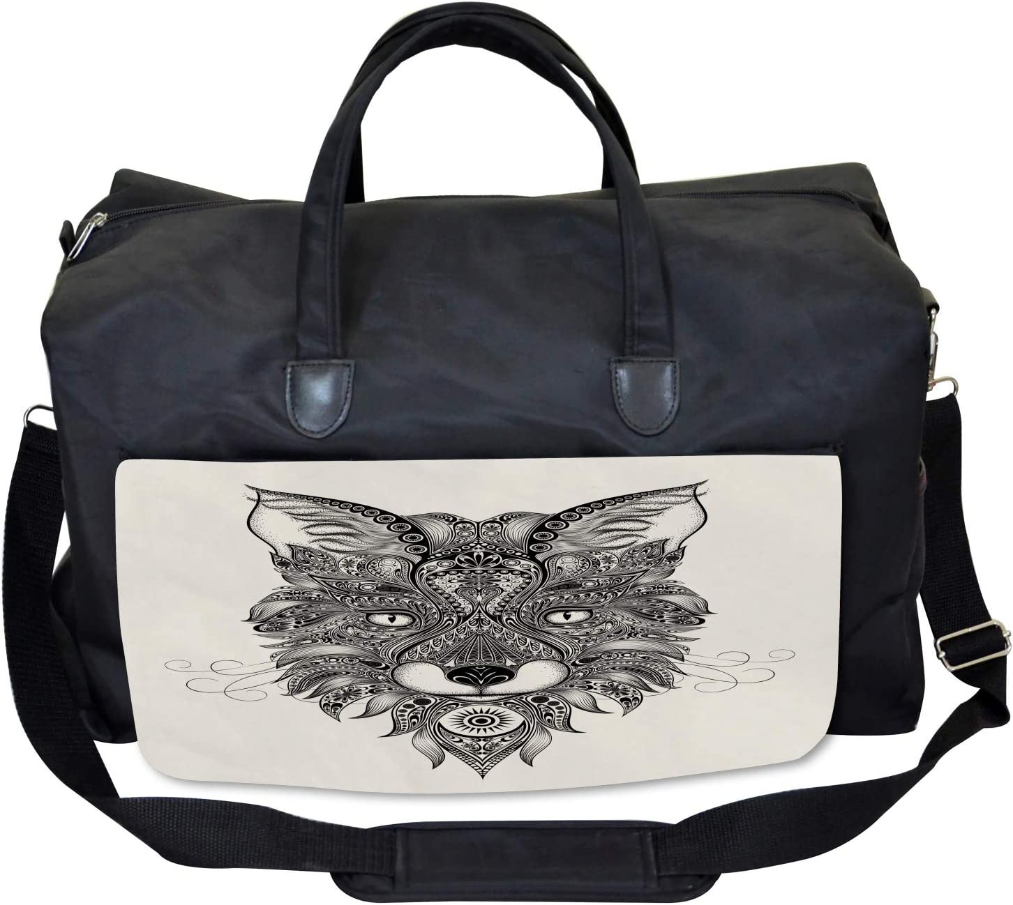 Large Weekender Carry-on Celtic Style Ambesonne Fox Gym Bag