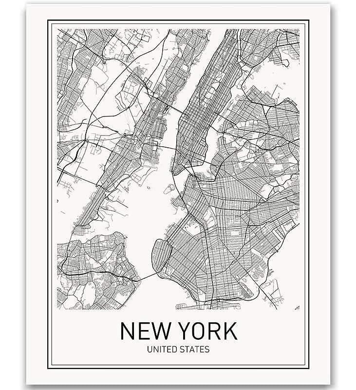 Amazon Com New York Poster New York City Map Prints Nyc Downtown Print Black And White Minimalist Art Scandinavian Map Wall Art Nyc Poster For Living Room Bathroom 8x10 Unframed Wall Print Handmade