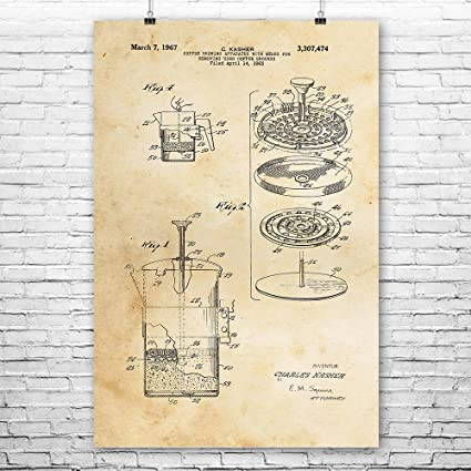 Amazon.com: French Press Coffee Maker Cafetiere Poster Art Print ...