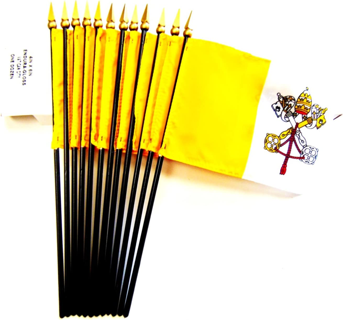 Box of 12 Vatican City 4x6 Miniature Desk /& Table Flags; 12 American Made Small Mini Holy See Pope Flags in a Custom Made Cardboard Box Specifically Made for These Flags MADE IN USA!
