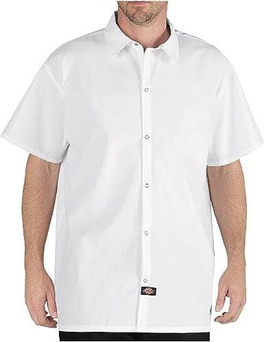 Dickies Camisa de cocinero sin bolsillo para hombre, talla grande