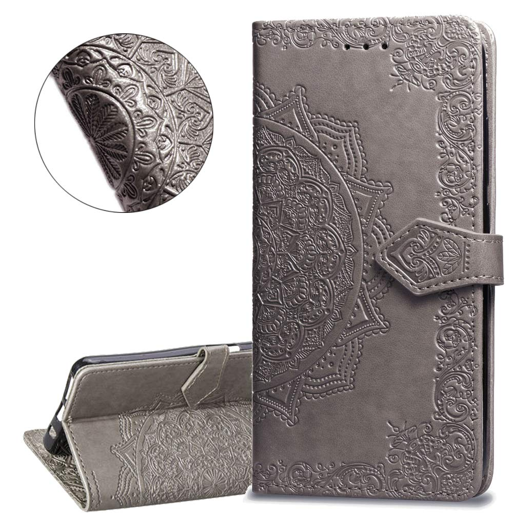 HMTECHUS Samsung A50 case Design Luxury Bookstyle Clear View Window Electroplate Plating Stand Scratchproof Full Body Protective Flip Folio Ultra Slim Cover for Samsung Galaxy A50 PU Mirror:Silver MX