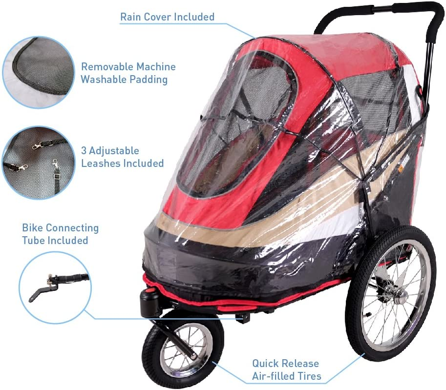 ibiyaya 2-in-1 Pet Stroller Bicycle Trailer for Dogs Medium to Small