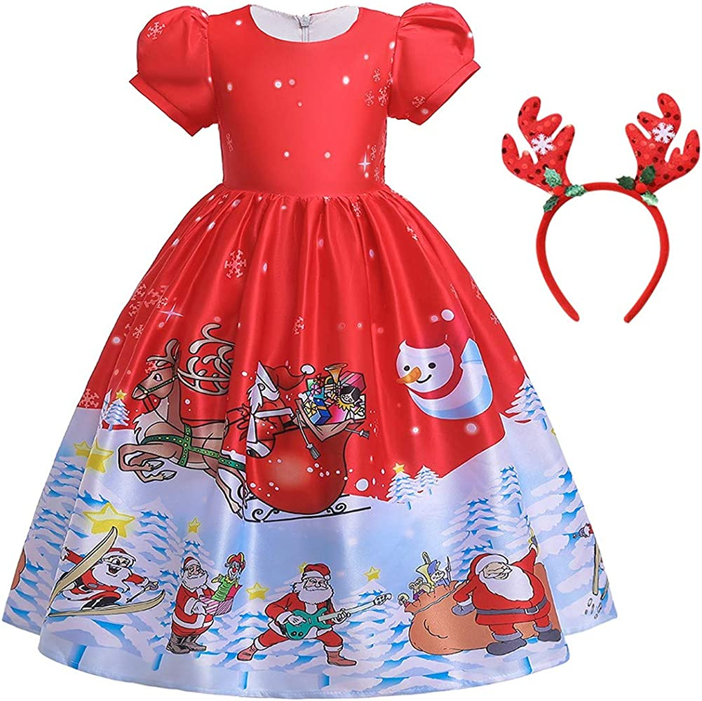 Toddler Baby Kids Girls Christmas XMAS Printed Snowman Print Dresses Outfits