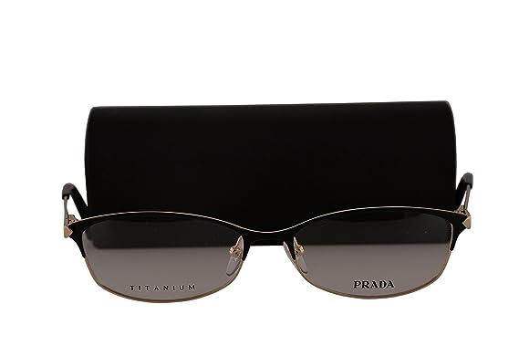14aa68176f4 Prada PR63RV Eyeglasses 55-16-135 Black Pale Gold w Demo Clear Lens QE31O1  VPR63R VPR 63R PR 63RV  Amazon.co.uk  Clothing