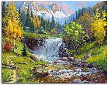 Yzrh Peinture A L Huile Par Numeros Bricolage Image Cascade Dessin