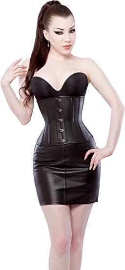 Black Under Bust Corset//Lingerie Real Leather Real Steel Bones Lace up