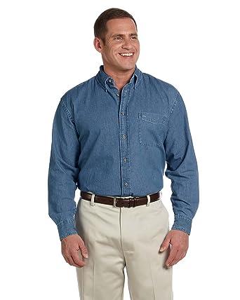 7ab331cd2e4 Harriton Men s Long-Sleeve Denim Shirt M550 at Amazon Men s Clothing ...