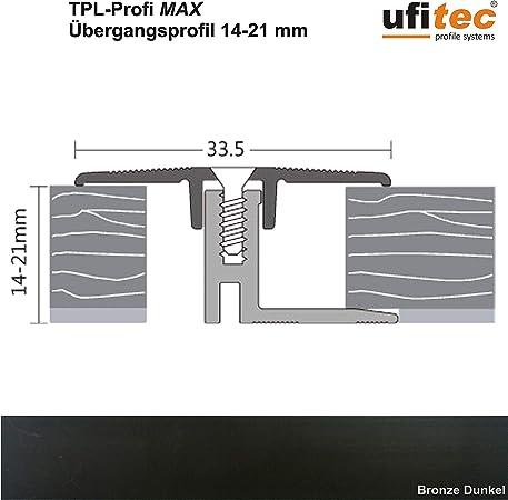 ALU eloxiert H/öhenausgleichsprofil | L/änge: 100 cm, Bronze Hell geeignet f/ür Belagsh/öhen von 14-21 mm ufitec/® TPL Profi MAX Profilsystem f/ür Parkettb/öden