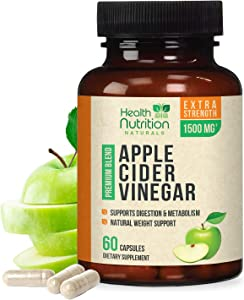 Apple Cider Vinegar Capsules for Natural Weight Support 1500mg - Extra Strength with The Mother, Made in USA, Best ACV Supplement for Metabolism Support, Keto Diet, Cleanse Support - 60 Capsules