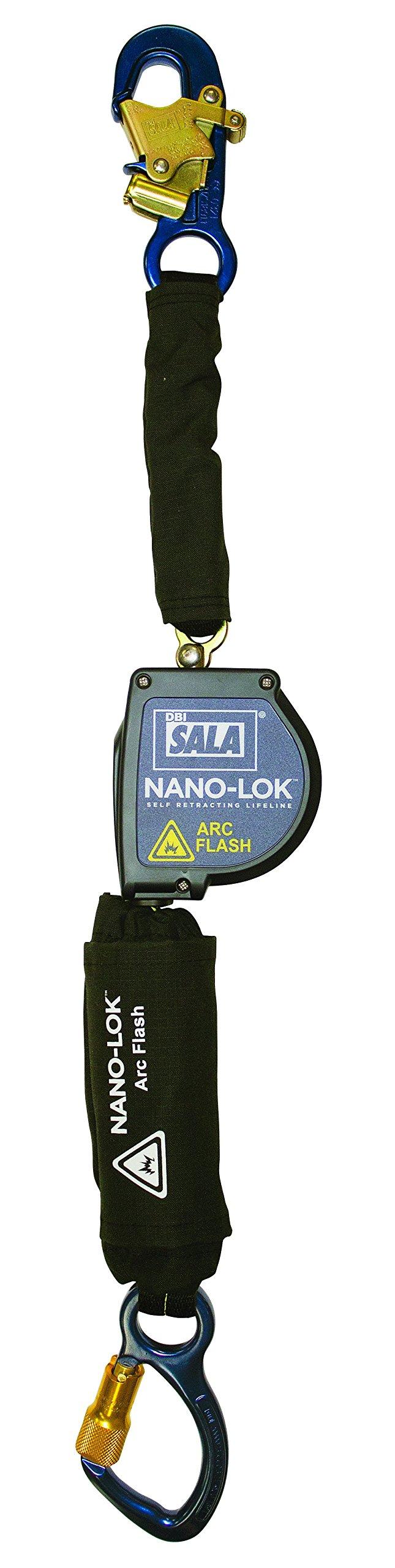 3M DBI-SALA Nano-Lok 3101575 Arc Flash 8' Single Bucket Truck Unit with Web Leg and Aluminum Captive Eye Carabiner, Blue/Black