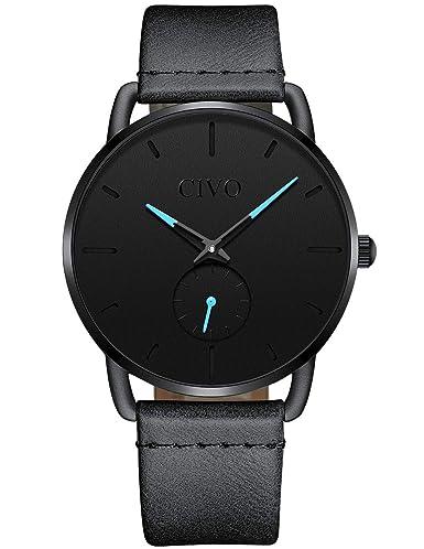 CIVO Relojes Hombre Impermeable Minimalista Lujo Reloj de Cuero Moda Deportivo Caballero Analogico Casuales Negocios Clásico