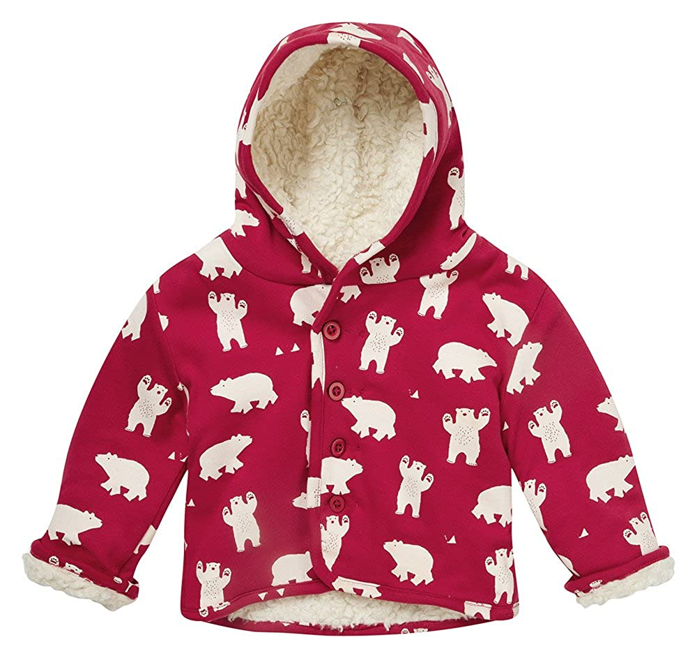 Piccalilly Organic Cotton Red Unisex Reversible Polar Bear Baby Jacket