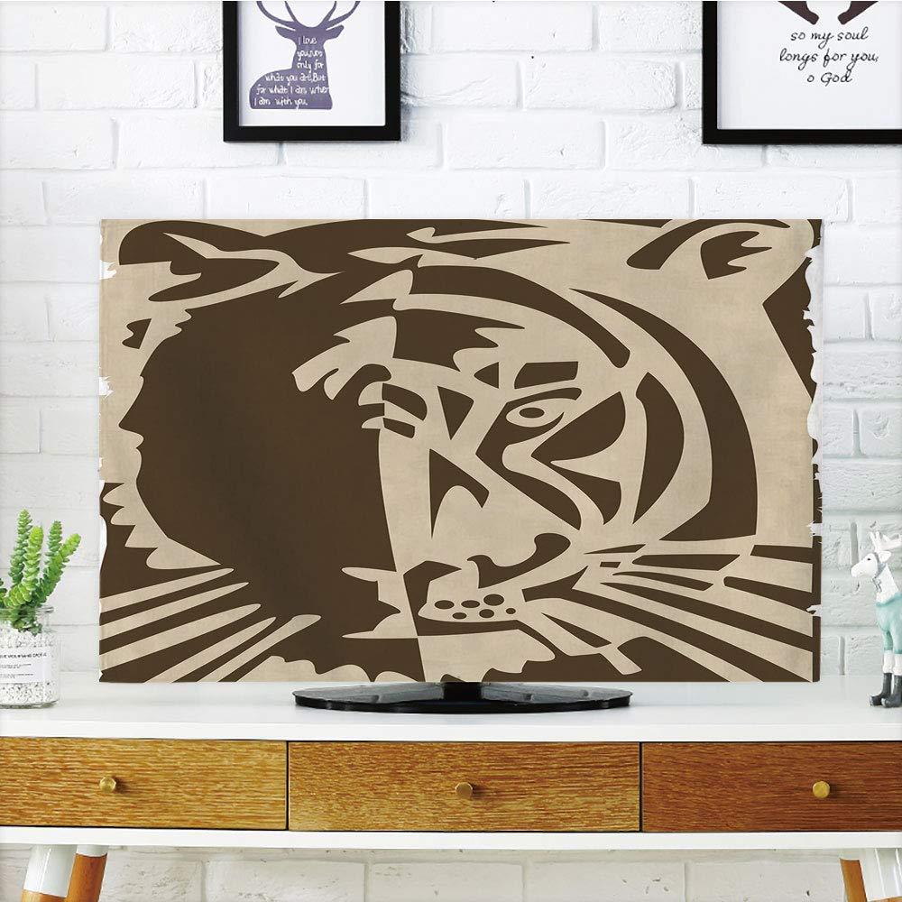 LCDテレビダストカバー カスタマイズ可 絞り染め装飾 星 内側 四角形 万華鏡 タイダイ 動機動物 外部の画像 ティールブルー グラフ カスタマイズデザイン 47インチテレビ対応 TV 50
