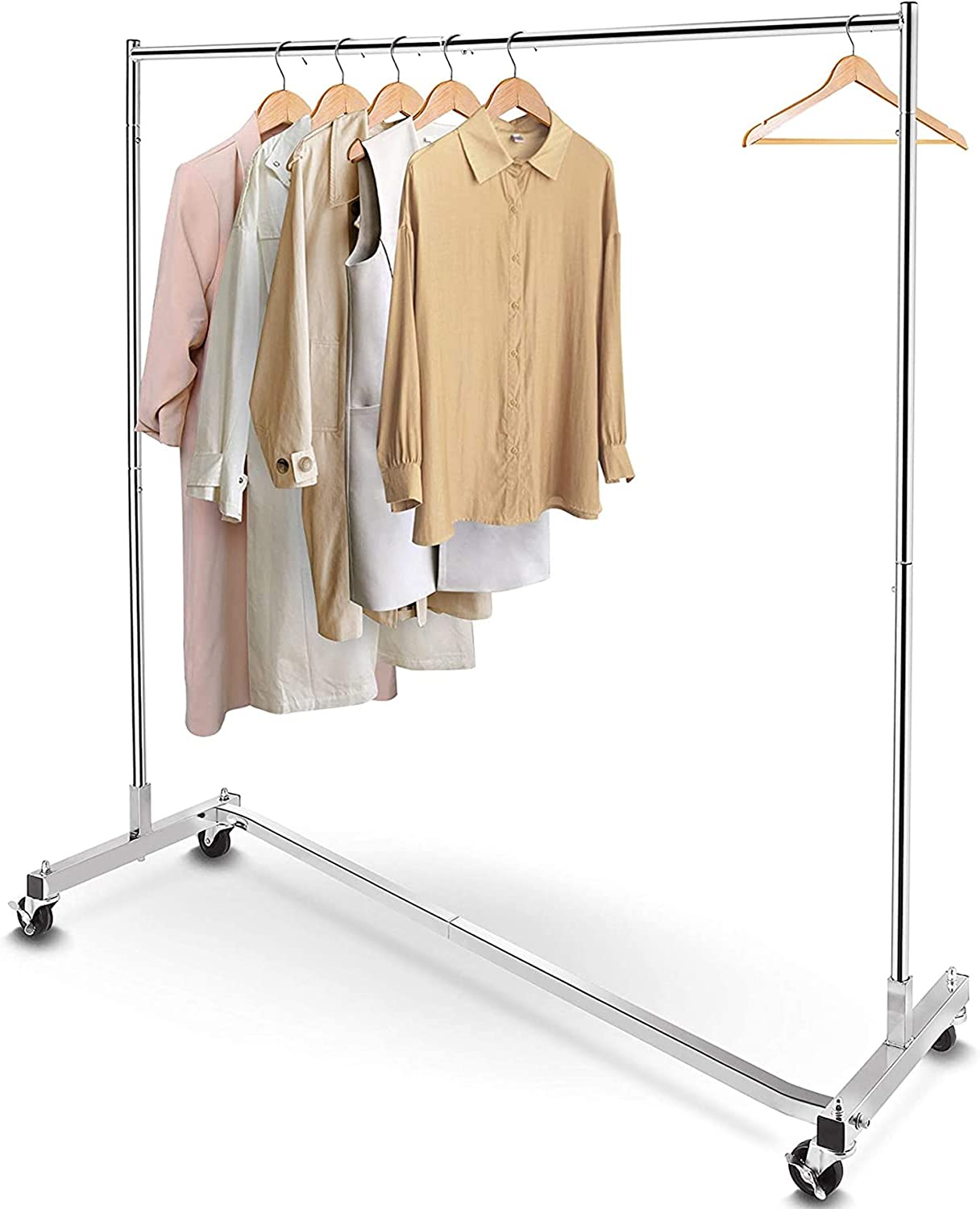 Simple Trending Industrial Grade Z Base Clothes Garment Rack Heavy Duty Clothing Rolling Rack On Wheels 400lbs Load With 63 Extra Long Bar Chrome Home Improvement Amazon Com