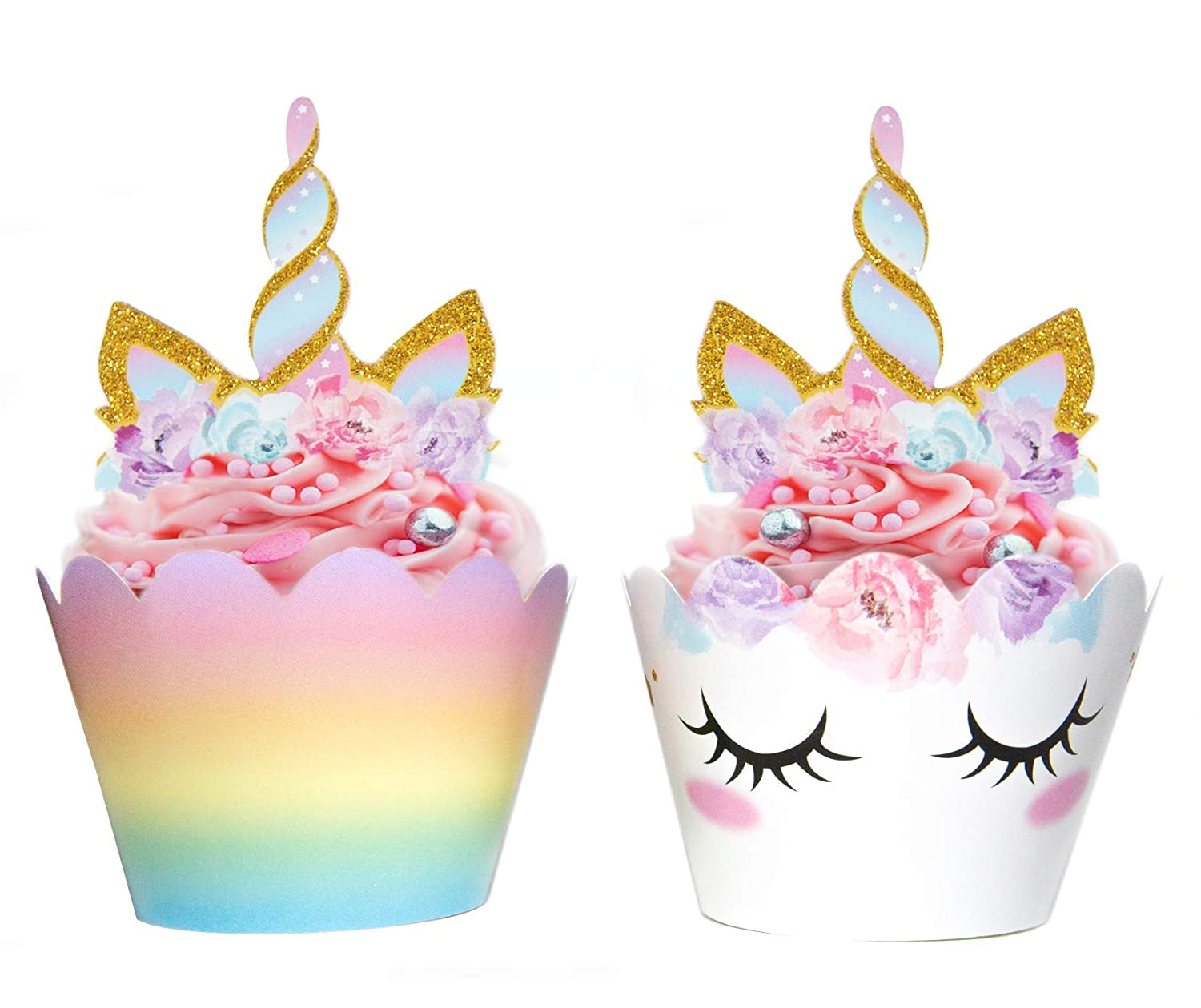 Unicorn Cupcake Decorations, Double Sided Toppers and Wrappers, Rainbow and Gold Glitter Decorations, Cute Girl's Birthday Party Supplies, 24 sets -- By Xeren Designs
