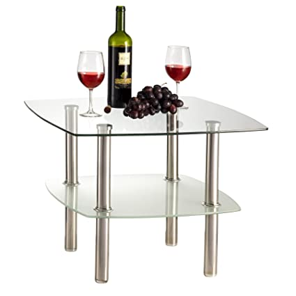 Glass Coffee Table Silver Legs 10