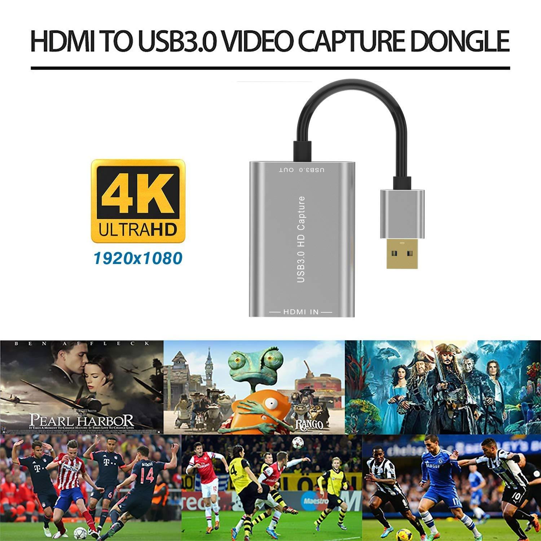 Convertisseur vid/éo Adaptateur USB vers HDMI Capture vid/éo 4K HDMI vers USB 3.0 Convertisseur denregistreur vid/éo en Direct HD1080p en Streaming Compatible Mac OS//Windows 10//7//XP Carte de Capture