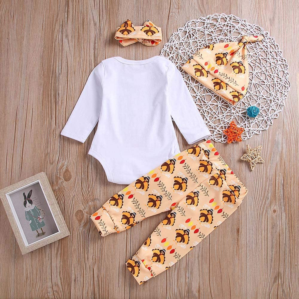 Newborn Baby Thanksgiving Clothes Set 4PCS Letter Print Romper Jumpsuit Tops+Pants Hat Headbands Outfit