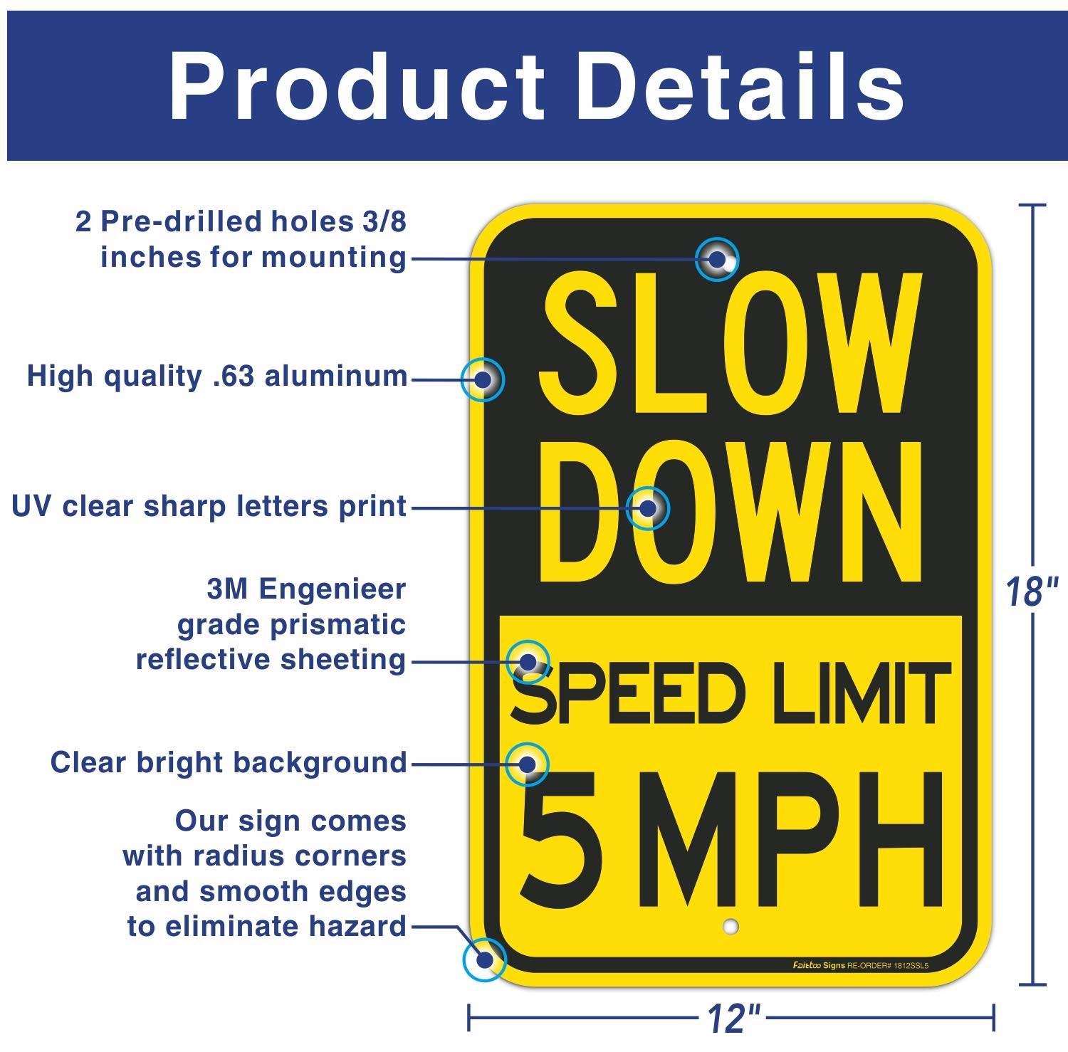 Waterproof Easy to Mount Slow Down Speed Limit 5 MPH Sign Rust Free Aluminum Traffic Sign,18 x 12 Inches Engineer Grade Reflective Sheeting 2 pack Durable Ink Slow Down Sign Weather Resistant