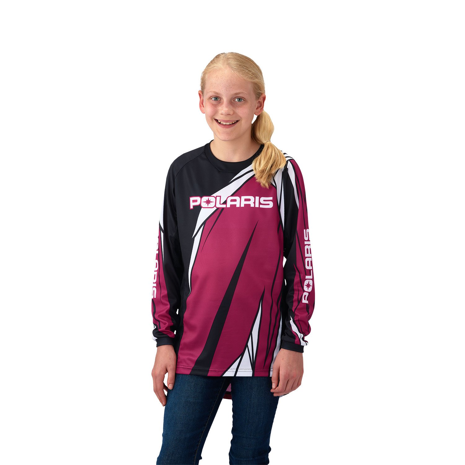 Polaris Youth Off-Road Riding Jersey - Pink - Medium (Size 10-12)