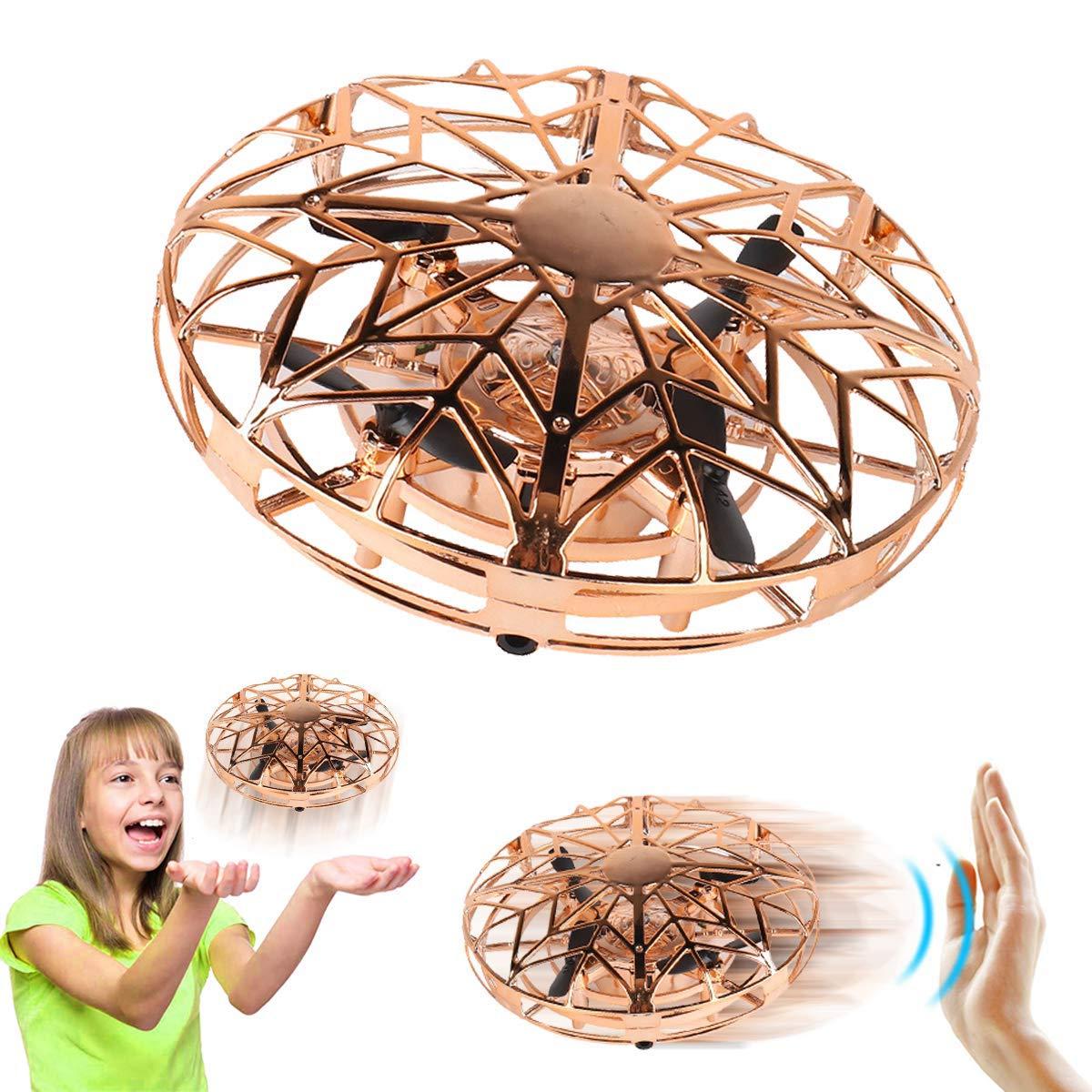 Joy-Jam Cadeaux pour Filles Gar/çons 5-8 Ans Balle Volante Mini Drones pour Enfants UFO Jouet Volant H/élicopt/ère T/él/écommand/é Jeux pour Enfants Rouge
