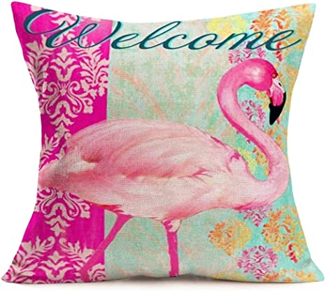 Smilyard Flamingo Throw Pillow Covers Vintage Animal Pink Bird With Welcome Word Pillow Case Cushion Cover Cotton Linen Outdoor Decor Sofa Home Pillow Covers 18x18 Inch Flamingo 04 Home Kitchen