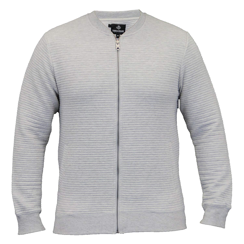 mens MA1 sweatshirt Threadbare baseball style zip top ribbed casual winter new