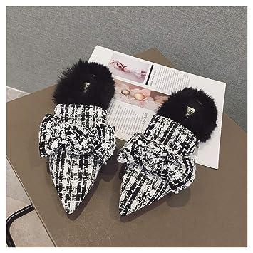 OMFGOD Señoras Moda Zapatillas Comodidad Peletería Artificial Caucho Inferior Talón Plano Nudo Mariposa Interiores Exteriores Zapatos: Amazon.es: Deportes y ...