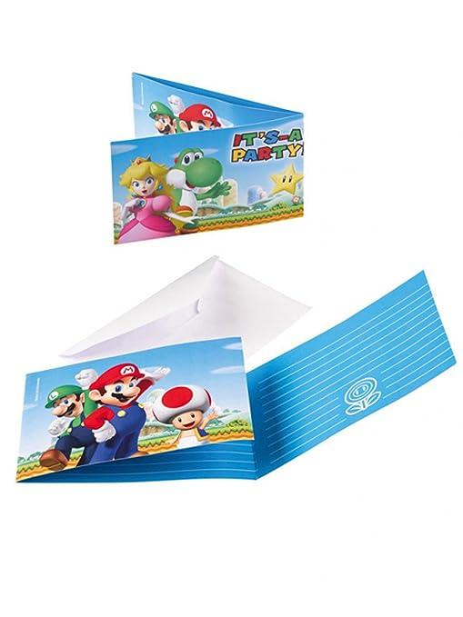 8 Invitaciones y sobres Super Mario: Amazon.es: Juguetes y ...