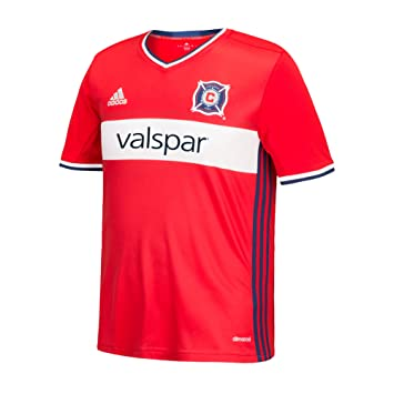 347d2c40184 adidas MLS Chicago Fire Boys Replica Short Sleeve Team Jersey, Scarlet,  Small