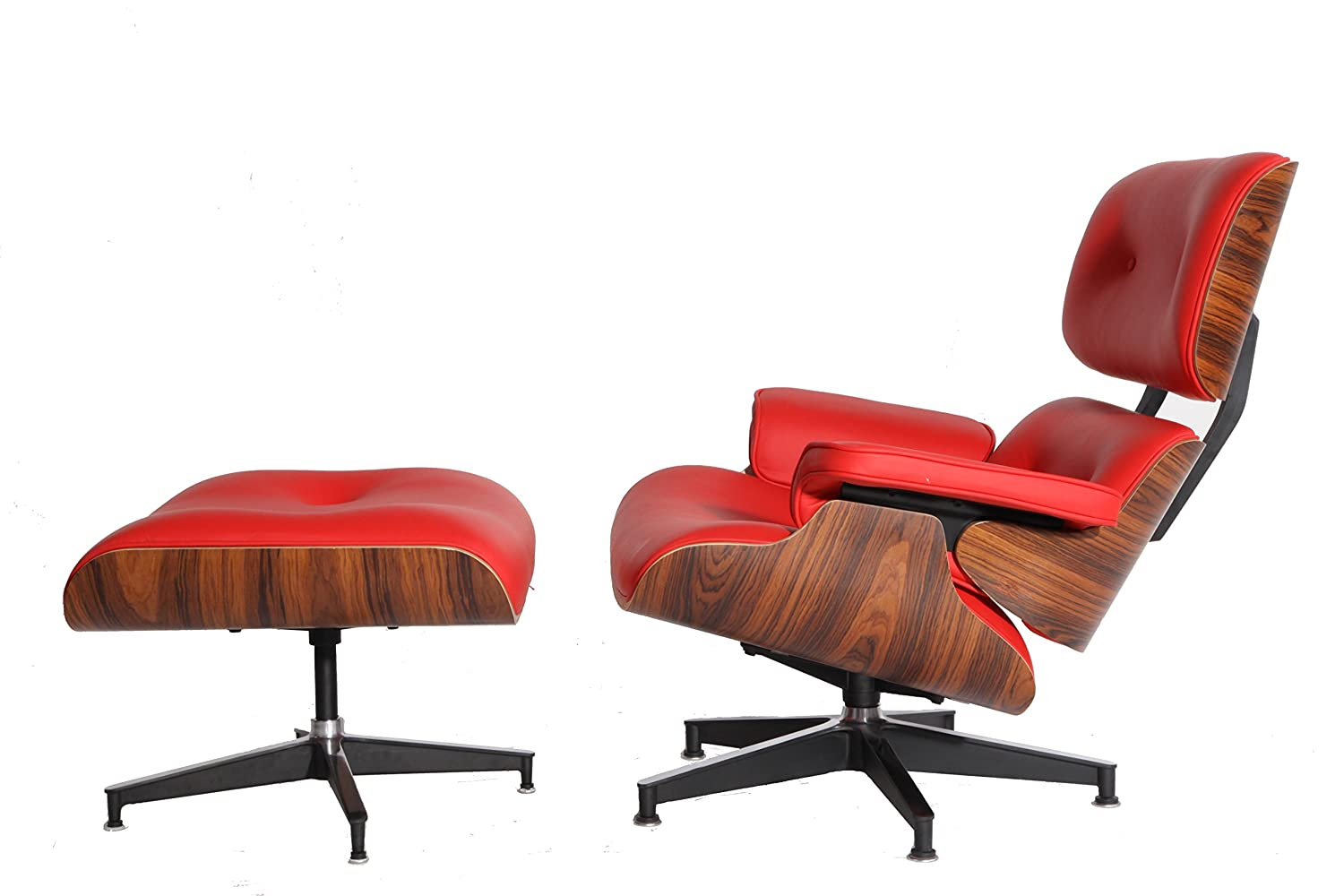 Modern Sources - Mid-Century Plywood Lounge Chair & Ottoman Eames Replica  Red Palisander Real Premium Leather