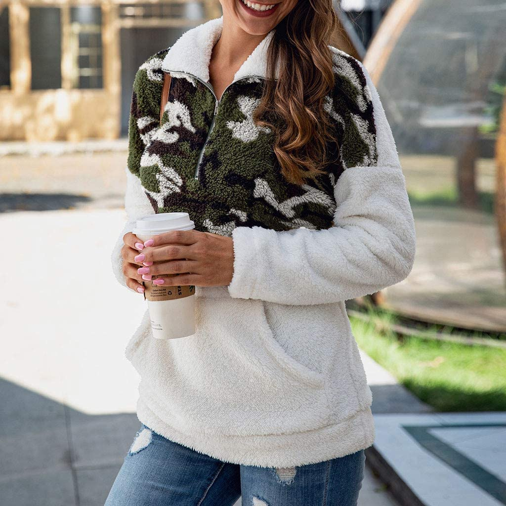 hymyyxgs Women Fashion Camouflage Printed Flannel Sweatshirt Long Sleeve Zipper Pocket Pullover Shirt Top Blouse
