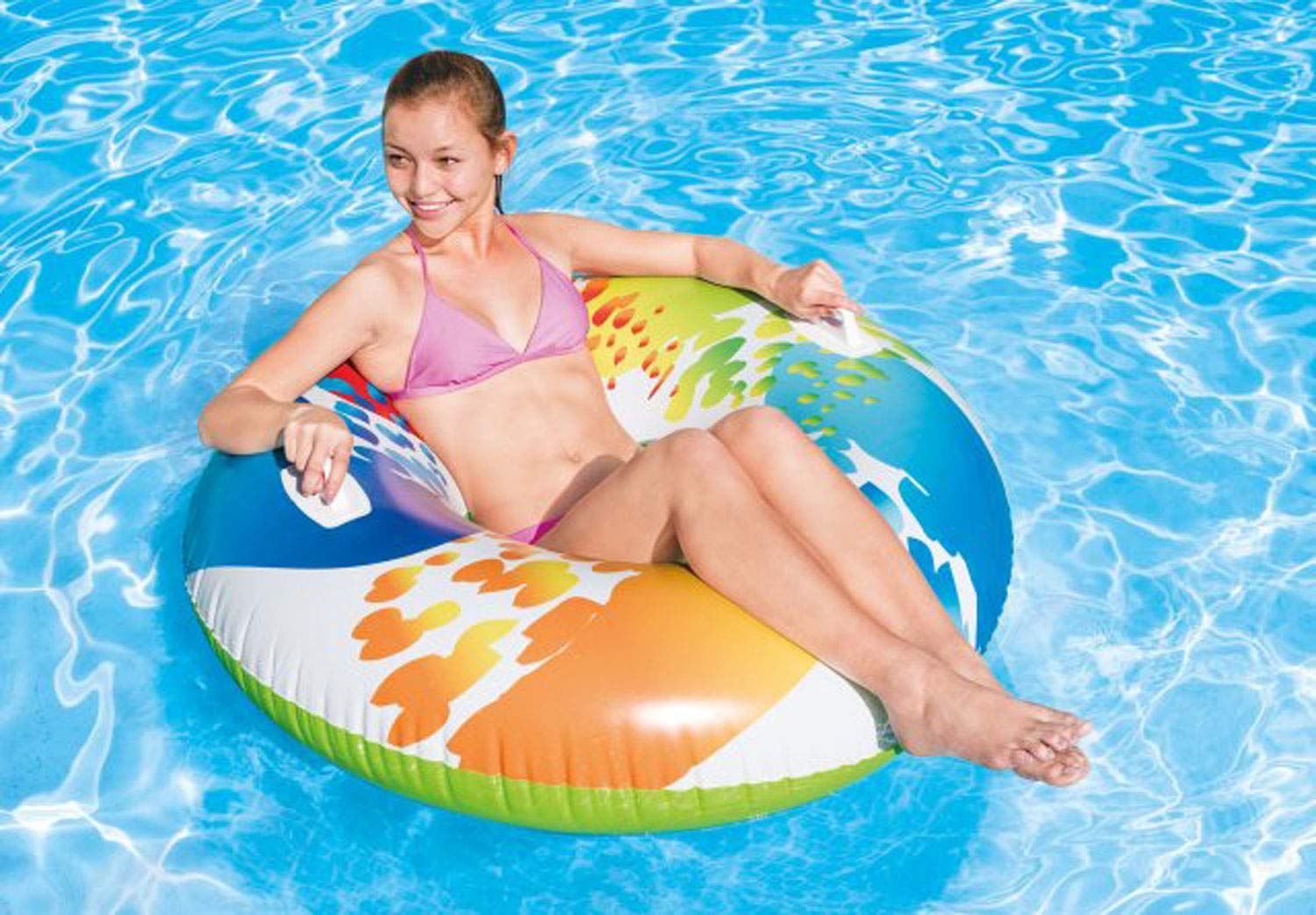 Intex Inflatable 47'' Color Whirl Tube Swimming Pool Raft with Handles (8 Pack) by Intex (Image #4)