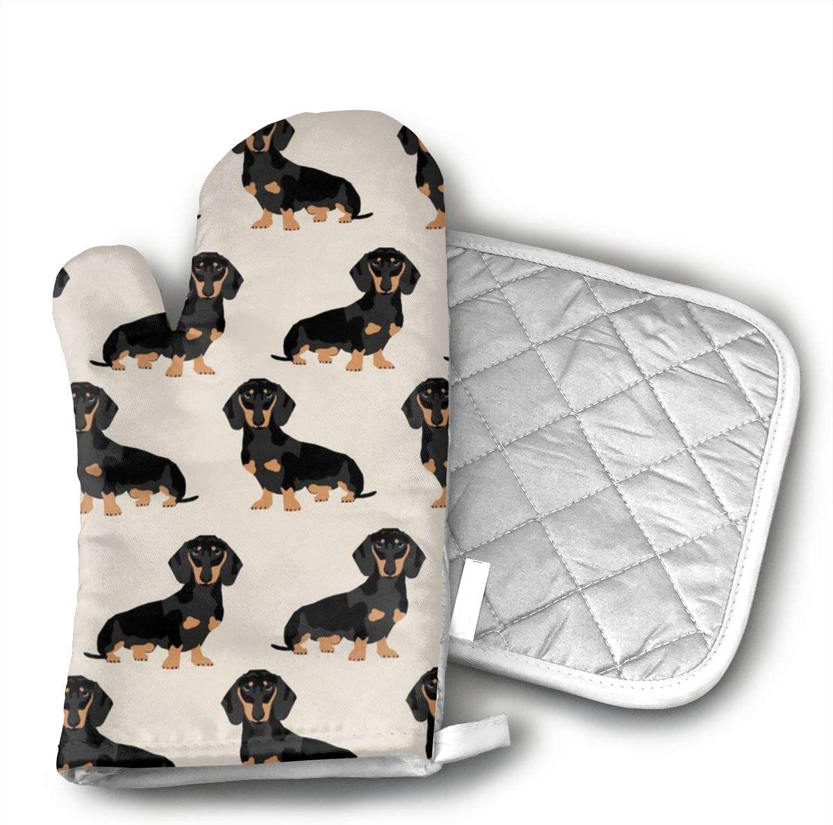 HGUIDHG Wiener Dog Fabric Doxie Dachshund Weiner Dog Pet Dogs Oven Mitts+Insulated Square Mat,Heat Resistant Kitchen Gloves Soft Insulated Deep Pockets, Non-Slip Handles