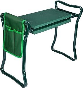 Decorlife Garden Kneeler and Seat Kneeling Bench Stool,Portable Outdoor Garden Kneeler and Seat Bench Stools with Soft EVA Kneeling Pad & Free Tool Pouch Ideal for Outdoor Gardening Weeding Seniors