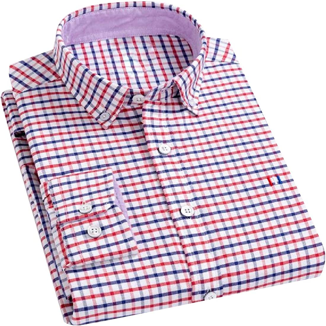 Abetteric Men Business Vintage Wash Relaxed Fit Long Sleeve Button Shirt