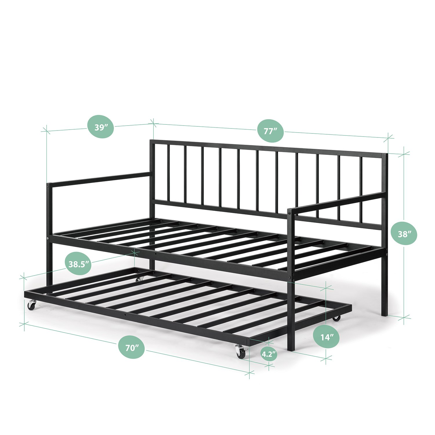 Zinus Eden Twin Daybed and Trundle Set / Premium Steel Slat Support / Daybed and Roll Out Trundle Accommodate Twin Size Mattresses Sold Separately by Zinus (Image #2)